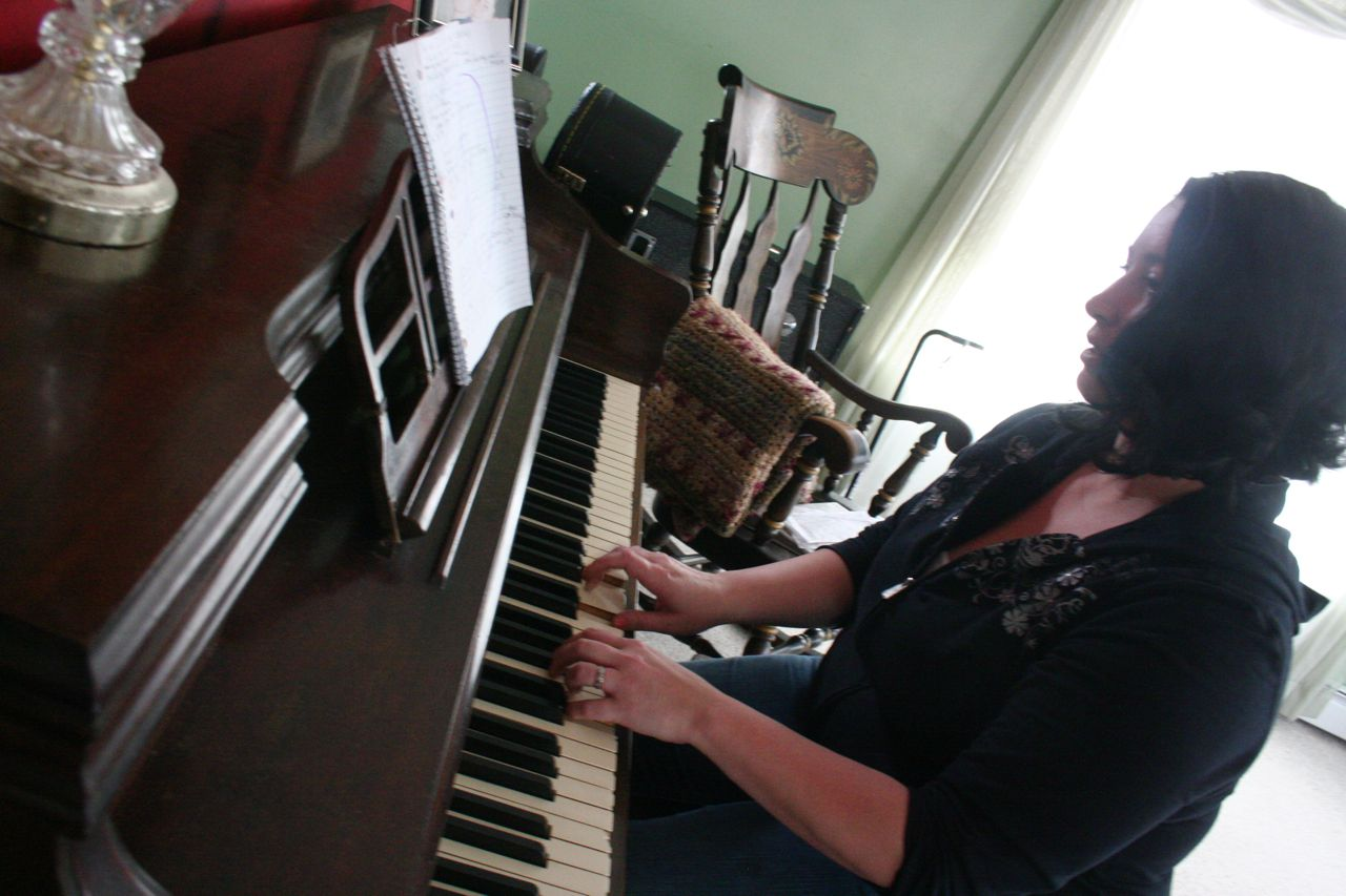at home on piano